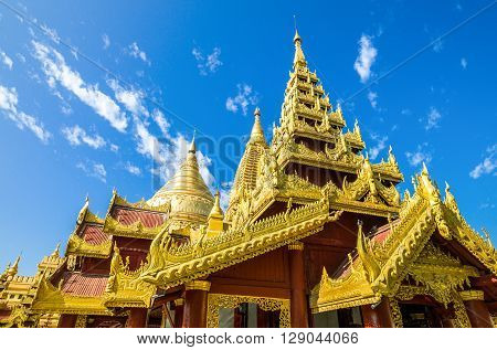 Myanmar, Bagan, upward view of the Kuthodaw temple.