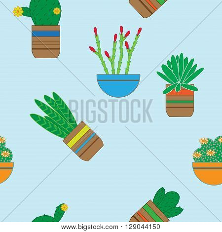 Flat seamless pattern with succulent plants and cacti in pots. Botanical vector graphics set with cute flowers.
