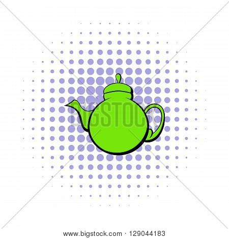 Green teapot icon in comics style on a white background