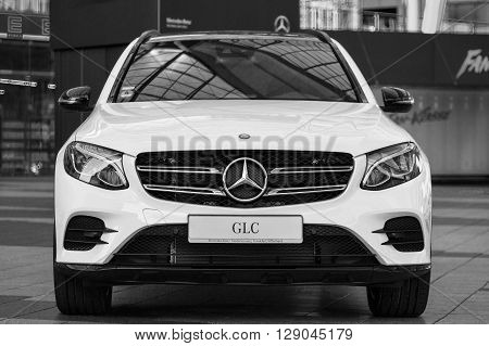 MUNICH, GERMANY - MAY 6, 2016: New model of elegant Mercedes-Benz GLC second generation crossover SUV.