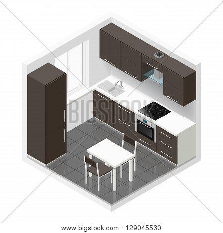 Kitchen icometric icon set vector graphic illustration
