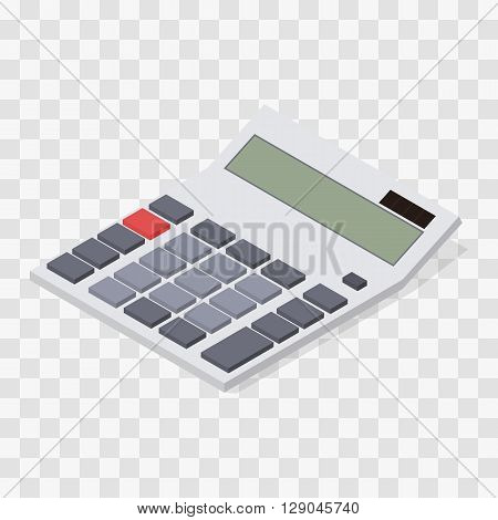 Calculator. Flat isometric. Blank buttons and display. Solar battery. Computing device. Web icon calculator. Vector illustration.
