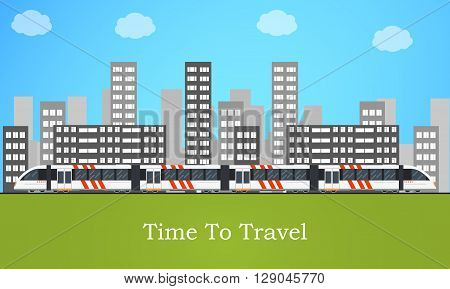 Speedy intercity train. The city's skyline. A passenger Train into a flat style. Blue sky. Vertical panorama. Railroad Vector illustration template design.