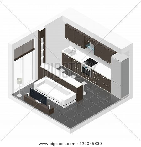 Studio apartment isometric icon set vector graphic illustration