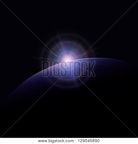 View from Space, Space Star Rises above the Planet, the Sun Rising over the Earth, Rays and Glare over the Planet Earth , Space Background, Vector Illustration