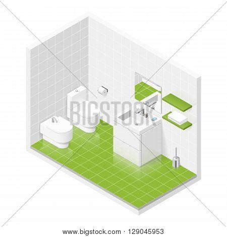 Toilet room isometric icon set vector graphic illustration