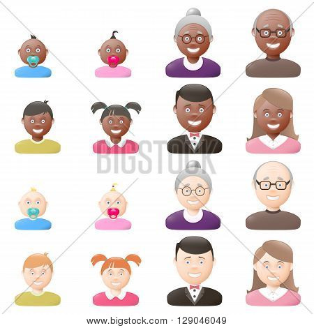 People with age groups light and dark skin male and female vector graphic illustration