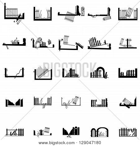 Broken fence silhouettes set isolated on white background