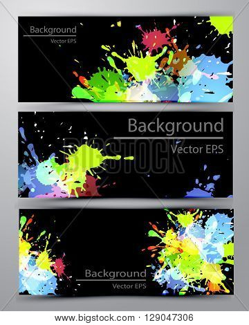 Abstract inkblot colorfull colorful bannerson black with spluches