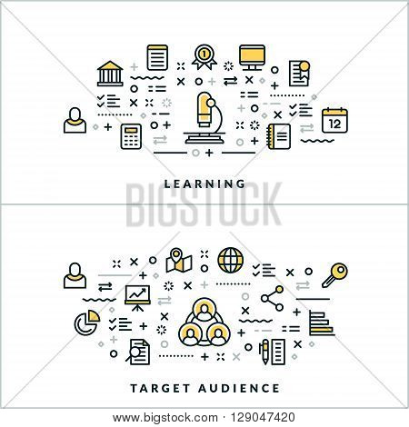 Vector Thin Line Learning and Target Audience Concepts. Vector Illustration for Website Banner or Header. Flat Line Icons and Design Elements