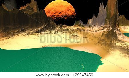 Rocks and lake. Landscape of stranger planet. 3D illustration