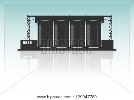 Cement factory. Isolated on background. Vector illustration.
