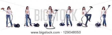 Collage of woman cleaning with vacuum cleaner