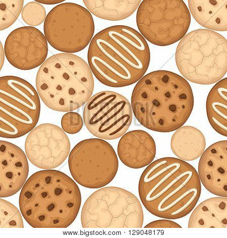 Vector seamless background with various cookies on a white background.