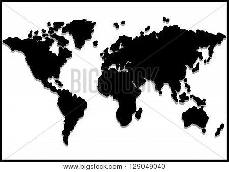 Black World map on white background. Stock image