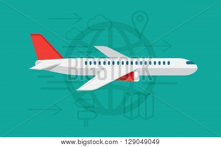 airplane travelling commercial airplane flight journey tourist vacation trip on airline transportation. Modern vector illustration concept
