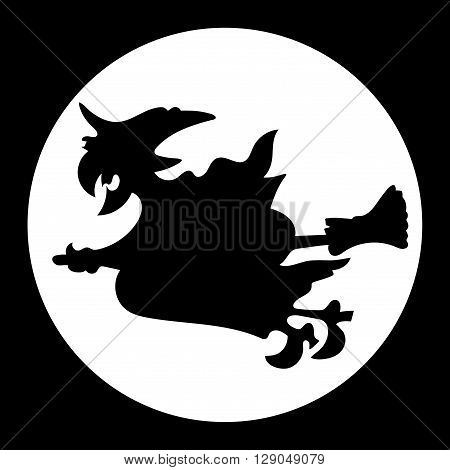 Witch flying over the moon on black background.