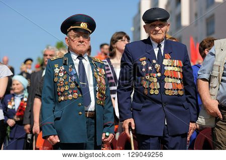 Orel Russia - May 9 2016: Celebration of 71th anniversary of the Victory Day (WWII). Old war veterans in uniform with medals closeup