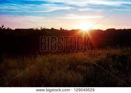 Rural landscape with a hill and  trees at sunrise with warm light, trails in the meadow leading to the golden sun.