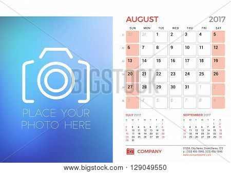 Desk Calendar Template For 2017 Year. August. Design Template With Place For Photo. 3 Months On Page