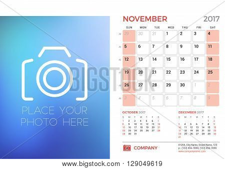 Desk Calendar Template For 2017 Year. November. Design Template With Place For Photo. 3 Months On Pa