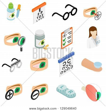 Vision correction icons set in isometric 3d style isolated on white background