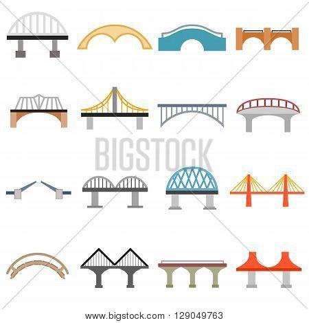 Bridge icons set in flat style isolated on white background