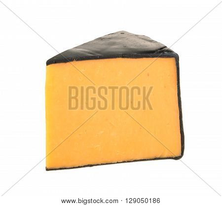 Cheddar cheese isolated on white background. close up