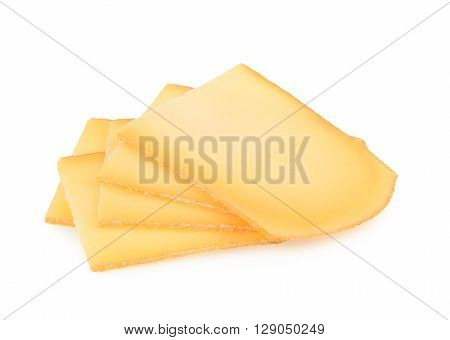 Raclette Cheese Isolated On White Background