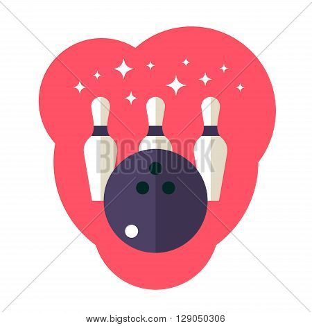 Vector bowling ball and bowling pin flat icon. Flat style vector illustration