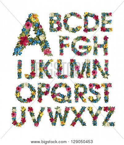 Colorful floral alphabet. ABC. Grotesque capital letters with flowers and leaves. Vector illustration. Isolated on white. Spring and summer flowers: roses, forgot me not, iris, Lilly, peony.