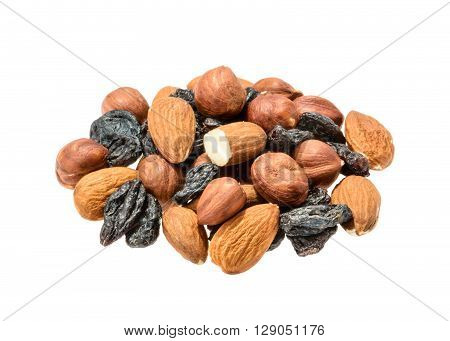 Almonds, Hazelnut And Raisins Isolated. Without Shadow