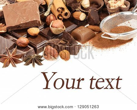 Delicious Chocolates Isolated On White Background