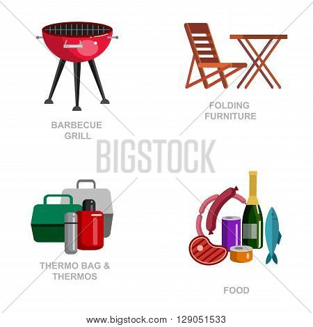 Camping and barbecue object. Camping Weekend and barbecue party and picnic icons. Hiking, barbecue and camping object. Vector barbecue, camping and BBQ flat illustration