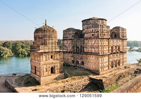 Famous historical buildings of Cinotaphs built along the Kanchan Ghat of the river Betwa in 17th century for a long memory about kings of Orchha city, Madhya Pradesh state, India.