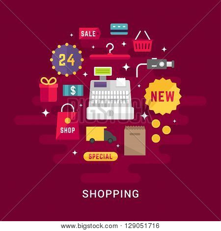 Shopping Concept. Cash Register with Shopping Icons. Flat Style Vector Illustration