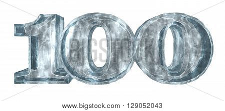frozen number one hundred on white background - 3d illustration