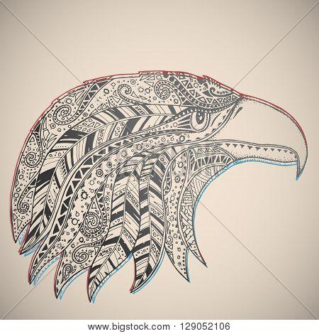 Eagle in oriental tribal ornament. Hippie ornament. Hand drawn.