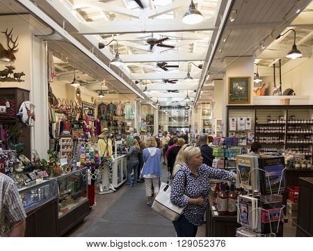 CHARLESTON, SOUTH CAROLINA-APRIL 12, 2016: Shoppers flock to the Old Slave Market which has been converted in the modern age to retail space in Charleston, South Carolina