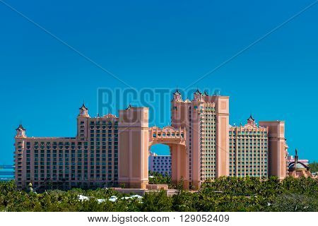 Atlantis - Bahamas with palm tree in natural light