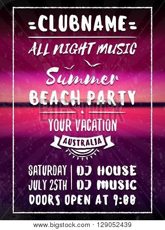 Beach Party Flyer or Poster. Night Club Event. Summer Night Party. Vector Flyer Design Template