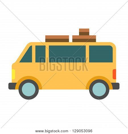 Vintage yellow camper or trailer for family trip. Flat vector illustration isolated on white background