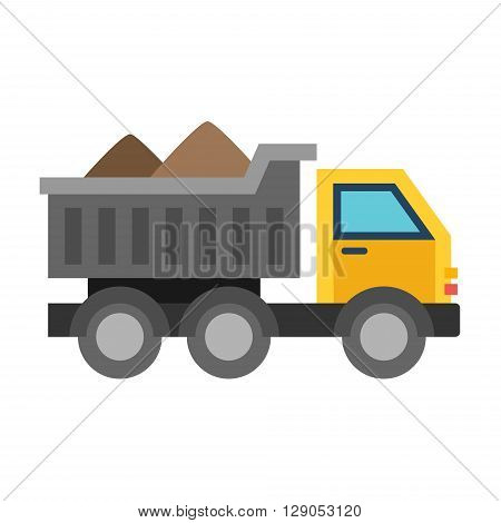 Dump truck with sand. Flat vector illustration isolated on white background