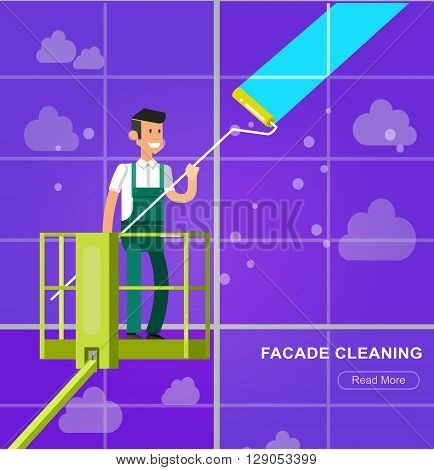 Illustration of a window facade washer cleaner cleaning a window. Vector detailed character men worker on lift