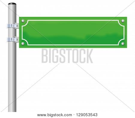 Street sign - blank, green, fixed on a pole. Isolated vector illustration on white background.