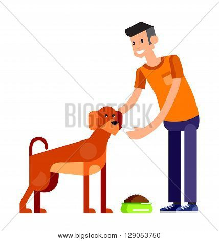 Vector detailed character Volunteer design concept, men Volunteer feed dog or cat, Volunteer veterinary care for homeless animal, character Volunteer isolated on white background