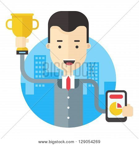 Man in suit holding a prize cup and a pie chart with results. Flat vector illustration