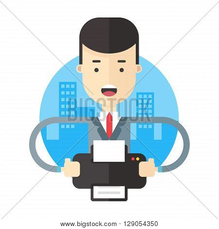 Buisnessman working with printer. Flat vector illustration