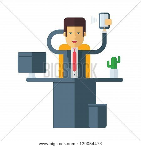 A businessman sitting at his desk in office. Coloured flat vector illustration isolated on white background
