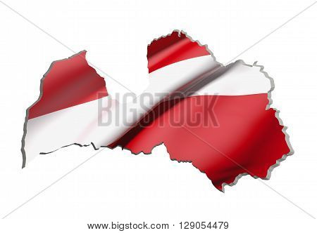 Silhouette Of Latvia Map With Flag